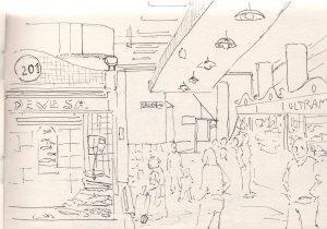 apunte de Oscar Benavent en el Mercado de Alicante