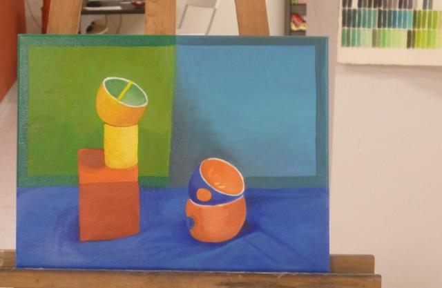 Ángela, colores saturados, óleo